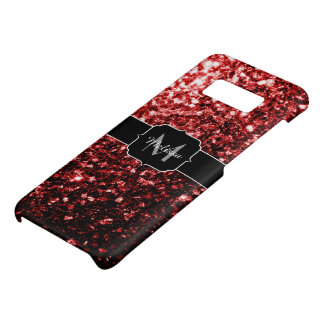 Beautiful Glamour Red Glitter sparkles Monogram Case-Mate Samsung Galaxy S8 Case