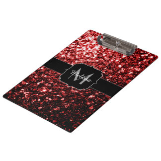Beautiful Glamour Red Glitter sparkles Monogram Clipboard