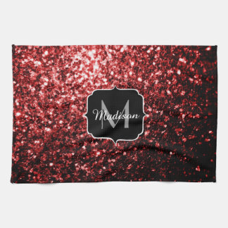 Beautiful Glamour Red Glitter sparkles Monogram Kitchen Towel