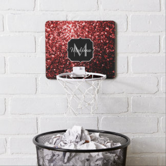 Beautiful Glamour Red Glitter sparkles Monogram Mini Basketball Hoop
