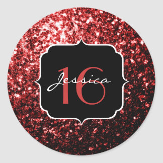 Beautiful Glamour Red Glitter sparkles Sweet 16 Classic Round Sticker