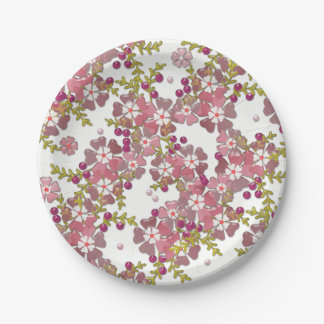Beautiful glass flowers paper plate