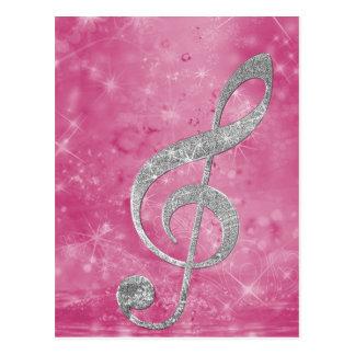Beautiful glittery effect silver treble clef postcard