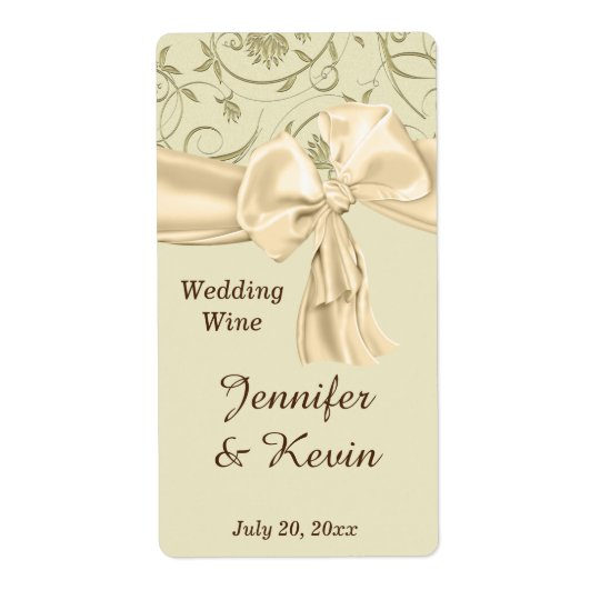 Beautiful Gold and Cream Wedding Wine Label Shipping Label