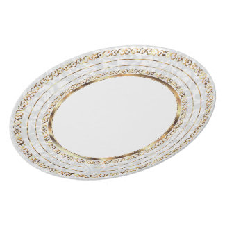 Beautiful Gold and White Damask Plates