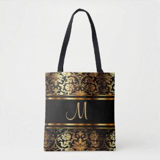Beautiful Gold & Black Damask Design Tote Bag