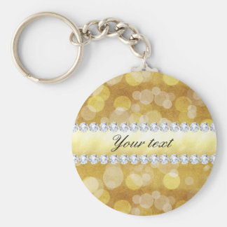Beautiful Gold Bokeh Foil and Diamonds Basic Round Button Keychain