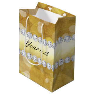 Beautiful Gold Bokeh Foil and Diamonds Medium Gift Bag
