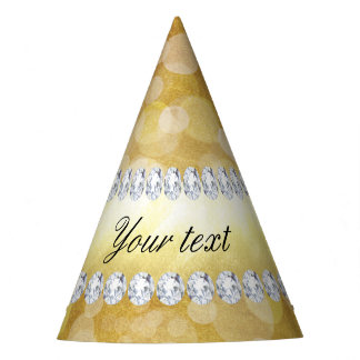 Beautiful Gold Bokeh Foil and Diamonds Party Hat