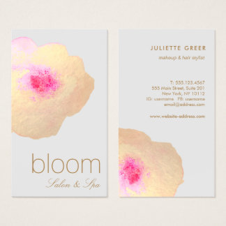 Beautiful  Gold Floral Watercolor Salon Spa Business Card