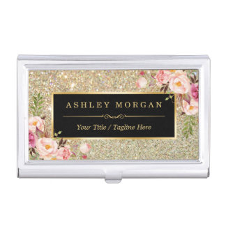 Beautiful Gold Glitter Sparkles Girly Floral Decor Business Card Holder