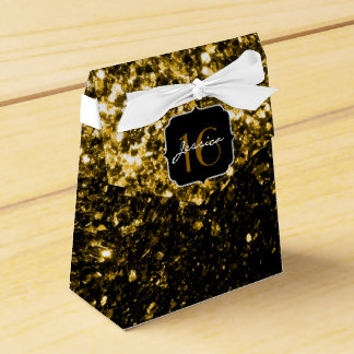 Beautiful Gold glitter sparkles Sweet 16 favor box