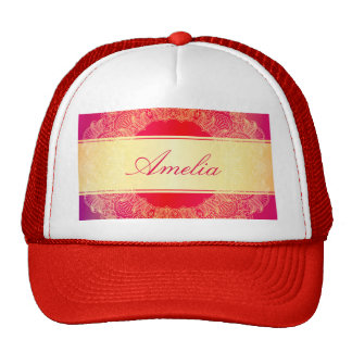 Beautiful,gold,hot pink,art nouveau,floral pattern trucker hats