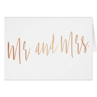 """Beautiful gold rose """"Mr. and Mrs."""" Card"""