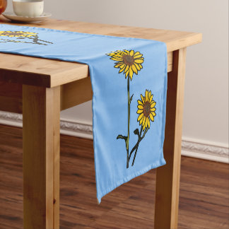 Beautiful Golden Stained Glass Sunflowers Short Table Runner