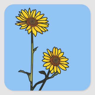 Beautiful Golden Stained Glass Sunflowers Square Sticker