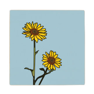 Beautiful Golden Stained Glass Sunflowers Wood Coaster