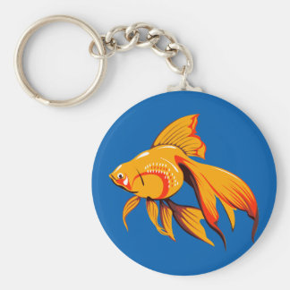 Beautiful Goldfish Basic Round Button Keychain