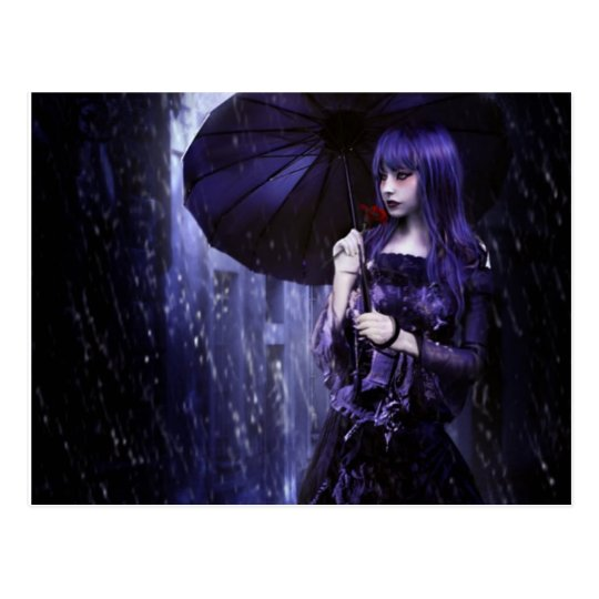 Beautiful Goth Girl in Rain Postcard