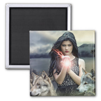 Beautiful Gothic Mystical Woman and Wolves Magnet