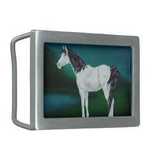 Beautiful Gray Arabian Horse Rectangular Belt Buckles