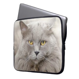 Beautiful Gray Cat with Green Eyes Laptop Sleeve