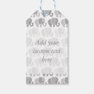 Beautiful Gray Elephants Baby Gift Tags