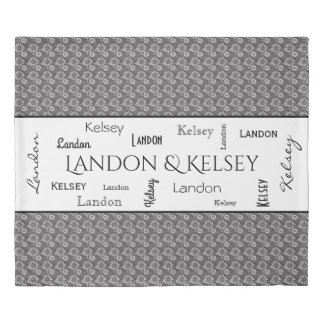 Beautiful Gray Floral w/Name Duvet Cover