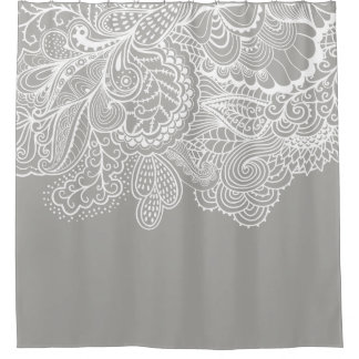 Beautiful Gray & WhiteVintage Lace shower Curtain