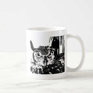Beautiful Great Horned Owl Black & White Graphic Coffee Mug