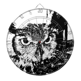Beautiful Great Horned Owl Black & White Graphic Dart Boards