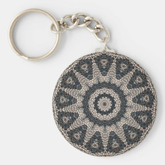 Beautiful Greek black and white pebble Mosaic Art Basic Round Button Keychain