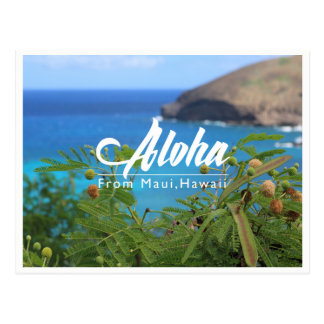 Beautiful green and blue from Maui Hawaii postcard