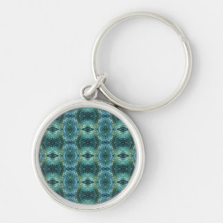 Beautiful Green and Blue Glass Mosaic Silver-Colored Round Keychain