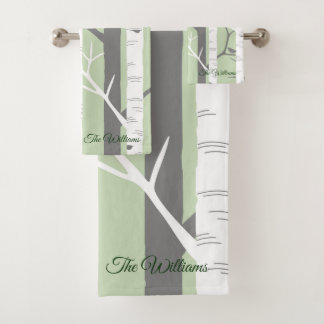 Beautiful Green Birch Tree Nature Bath Towel Set