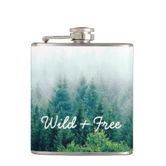 Beautiful Green Forest Wild and Free Hip Flask