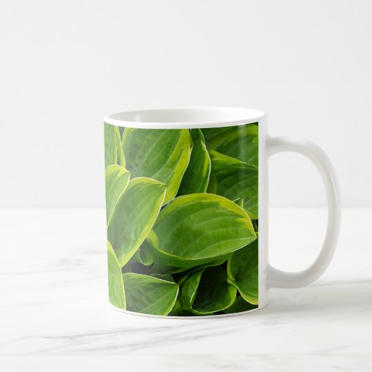 Beautiful green hosta plant coffee mug
