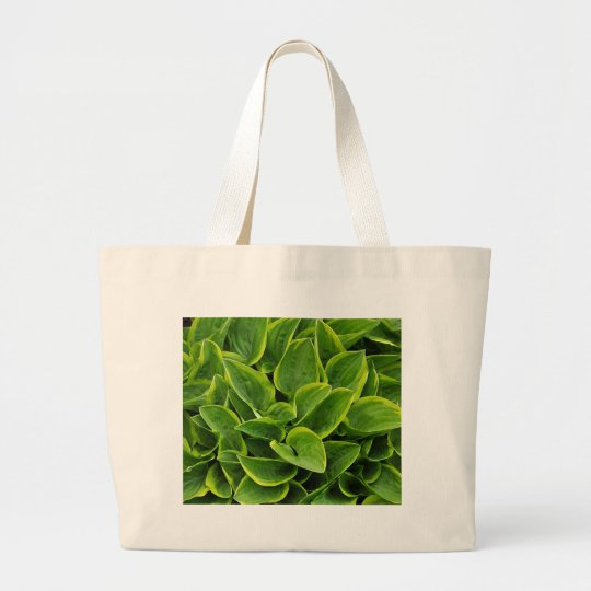 Beautiful green hosta plant large tote bag