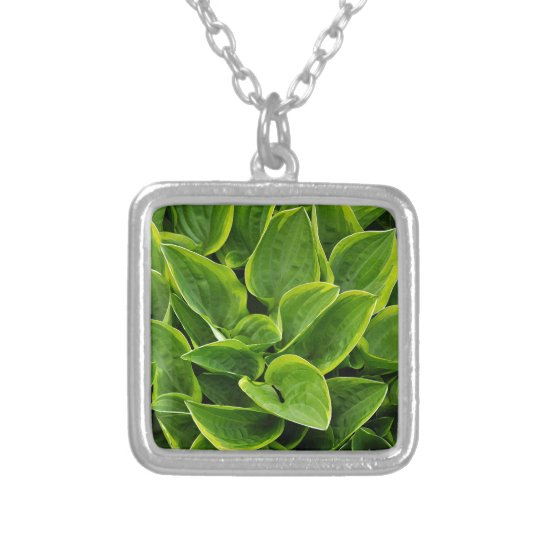 Beautiful green hosta plant silver plated necklace