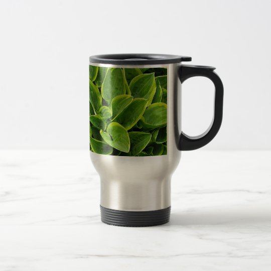 Beautiful green hosta plant travel mug