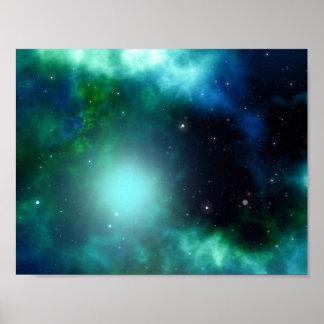 Beautiful Green Nebula filled with Stars Poster