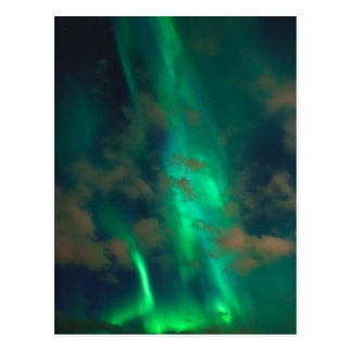 Beautiful Green Northern Lights with Clouds Postcard