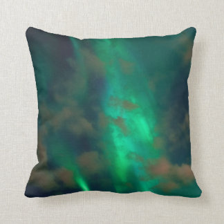 Beautiful Green Northern Lights with Clouds Throw Pillow
