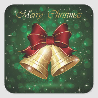 Beautiful Green, Red & Golden Merry Christmas Square Sticker