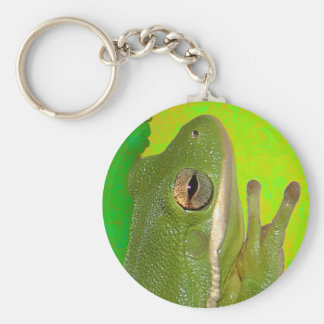 Beautiful green tree frog giviing the peace sign. basic round button keychain