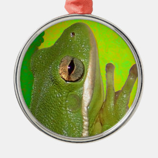 Beautiful green tree frog giviing the peace sign. Silver-Colored round ornament