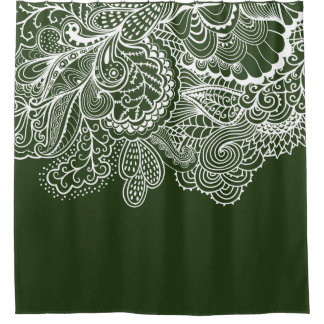 Beautiful Green White Vintage Lace shower Curtain