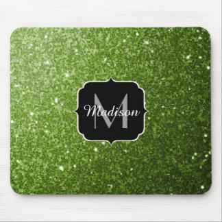 Beautiful Greenery Green glitter sparkles Monogram Mouse Pad