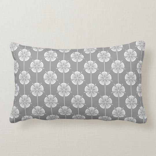 Beautiful Grey and White Floral Pattern Lumbar Pillow