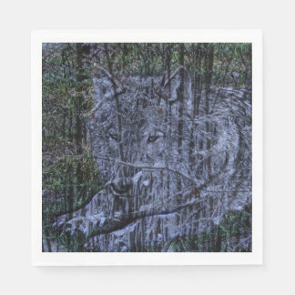 beautiful grey wolf in the wild paper napkins